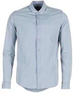 Wilshner Chambray Men's Long Sleeved Shirt In Blue