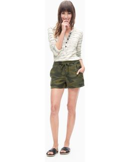 Camo Print Double Cloth Short
