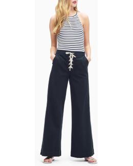 Cotton Twill Lace Up Pant
