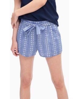 Chambray Pleated Shorts