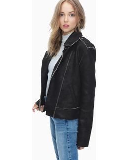 Bonded French Terry Biker Jacket