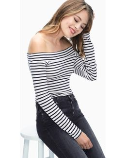 1x1 Venice Stripe Off Shoulder Bodysuit