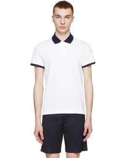 White Contrast Collar Polo