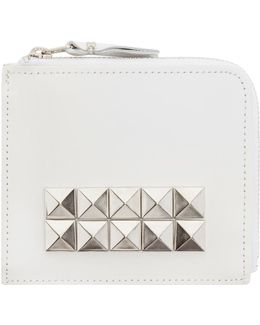 White Leather Studded Wallet