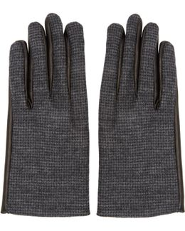 Grey Wool & Leather Gloves