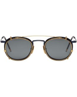 Navy & Gold Clip-on Sunglasses
