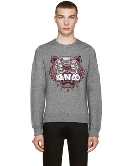 Grey Embroidered Tiger Pullover
