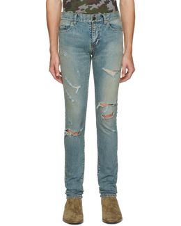 Blue Original Low Waisted Destroyed Skinny Jeans