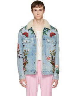Blue Embroidered Shearling Denim Jacket
