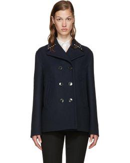 Navy Wool Rockstud Untitled Jacket