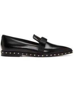 Black Soul Stud Bow Loafers