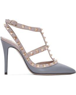 Grey & Pink Rockstud Cage Heels