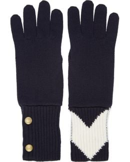 Navy Contrasting Gloves