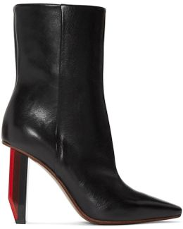 Reflector-heel Leather Ankle Boots