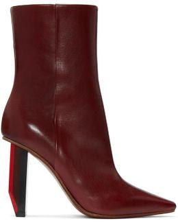 Burgandy / Red Heel Reflector Heel Ankle Boots