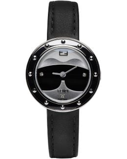 Karlito Diamond, Fox Fur, Stainless Steel & Leather Strap Watch