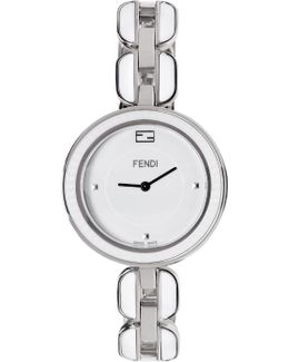 Silver & White My Way Fur Glamy Watch