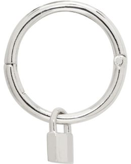 White Gold Tiny Padlock Hoop Earring