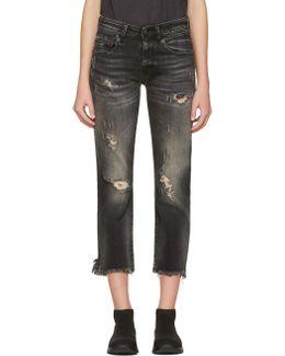 Black Shredded Straight Boy Jeans