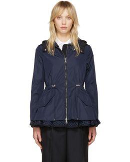 Navy Lotus Hooded Jacket