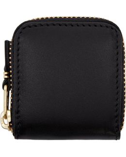 Black Small Leather Zip Around Pouch