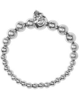 Silver Beaded Skull Bracelet