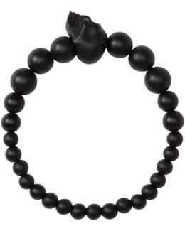 Black Beaded Skull Bracelet