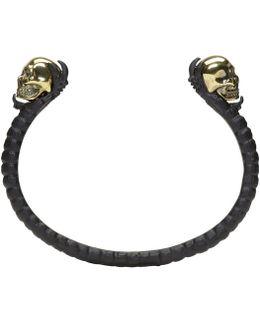 Black & Gold Twin Skull Claw Cuff
