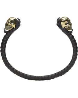 Black & Gold Twin Skull Claw Cuff