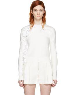 White Ruffle Sport Pullover