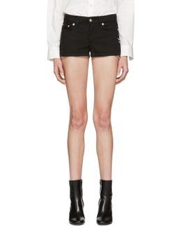 Black Denim Safety Pin Shorts