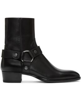 Black Leather Wyatt Harness Boots
