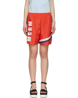 Red Colorblock Logo Shorts