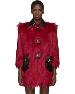 Red Faux-fur & Leather Shag Coat