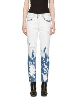Blue & White Chlorine Wash Jeans
