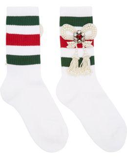 White Bow Little William Socks
