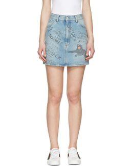 Blue Denim Scribble Miniskirt