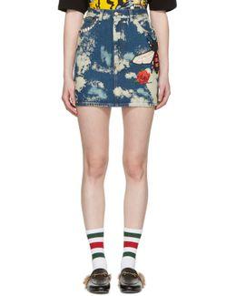 Blue Denim Patches Miniskirt