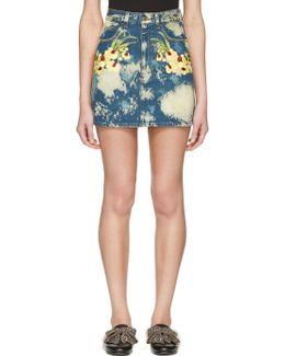 Blue Denim Flower Patch Miniskirt