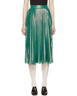 Iridescent Pleated Silk Blend Lam Skirt - Size 6