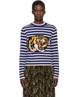 Blue & White Striped Tiger Sweater
