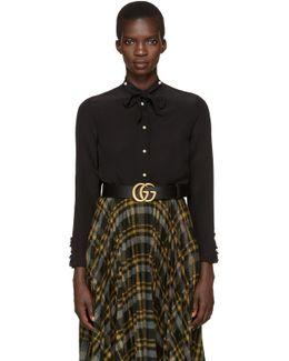 Black Silk Flounce Shirt