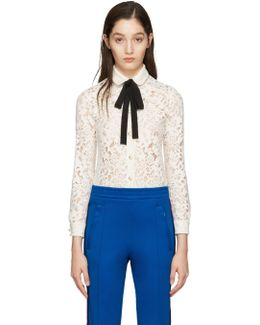 Ivory Lace Bow Collar Shirt