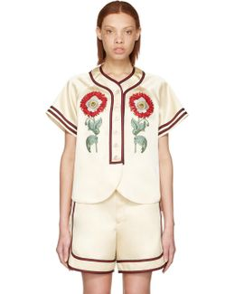 Beige 'loved' Embroidered Duchesse Shirt