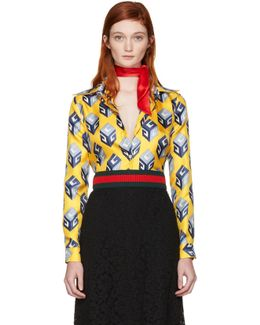 Yellow ' Cube' Silk Shirt
