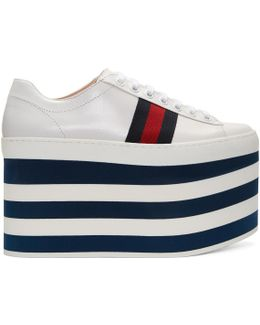 White Peggy High Platform Sneakers