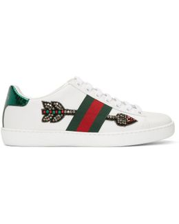Ace Arow-embroidered Leather Sneakers