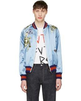 Blue Embroidered Silk Bomber Jacket