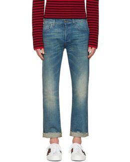 Indigo Tiger Cropped Jeans