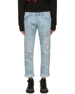 Blue Studded Scribble Jeans